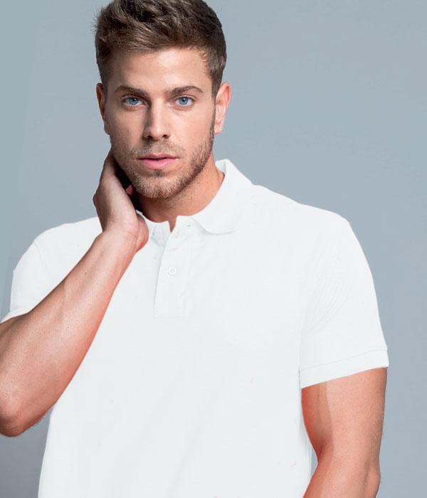 5cd8f341ff52 Μπλουζάκι Πόλο Λευκό Αντρικό με τύπωμα του λογοτύπου σας - Top ...
